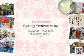 Spring event flyer with many photos - Pink version