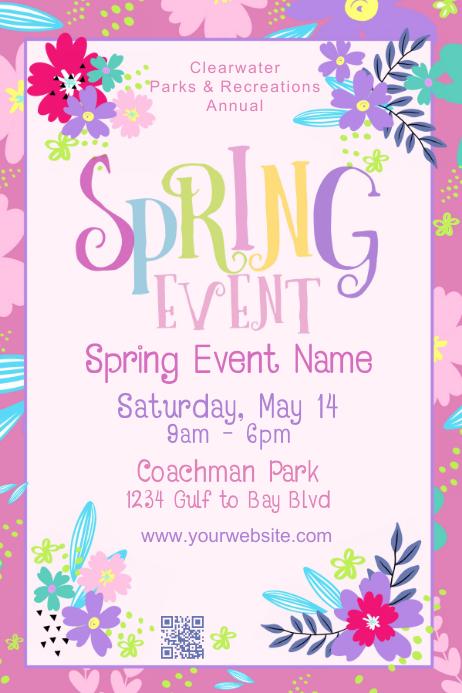 Spring Event Modern Eye Catching Art โปสเตอร์ template