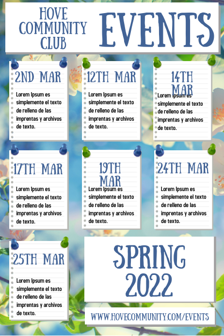 Spring Events Poster Template Póster