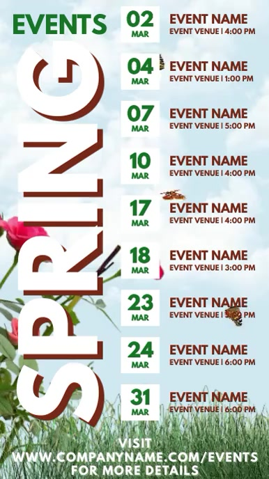 Spring Events Schedule Digital Template Digitale Vertoning (9:16)