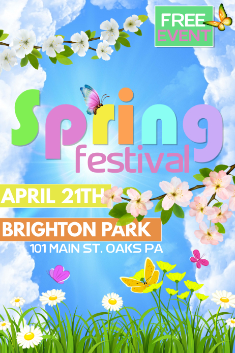 Spring Festival Cartaz template