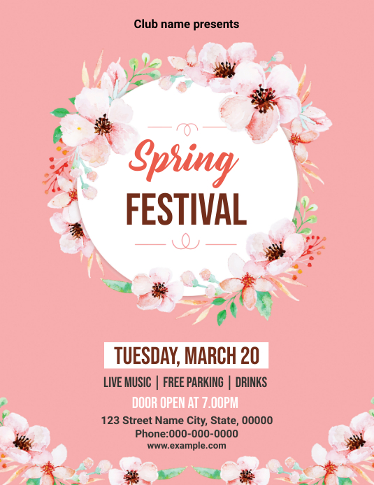 Spring Festival Party Flyer Volante (Carta US) template