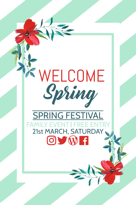 Spring festival poster, Event poster, Party poster template