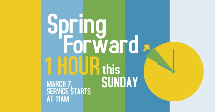 Spring Forward Church Service delt Facebook-billede template