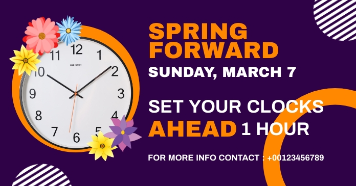spring forward daylight saving begins Imagen Compartida en Facebook template
