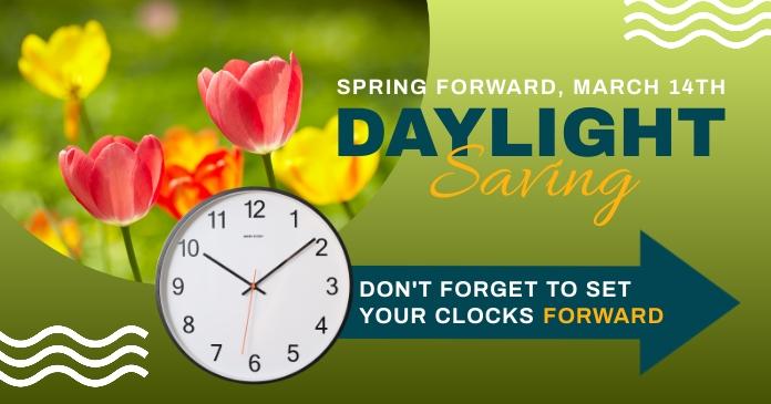spring forward daylight saving begins design delt Facebook-billede template