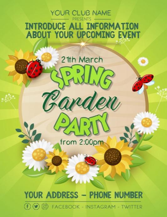 Spring Garden Beach Welcoming Party Poster Flyer