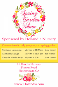Spring Garden Show Garden Expo Flowers Wedding Poster Temp