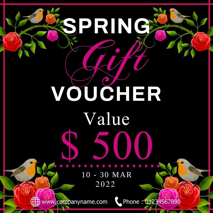 Spring gift voucher Instagram Post template