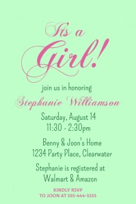 Spring Girls Baby Shower Video Invitation Poster template