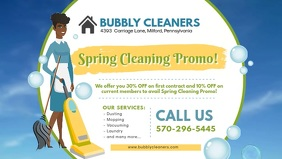 Spring House Cleaning Service Banner Facebook Cover Video (16:9) template