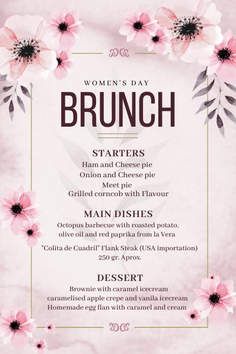 spring menu, Mother's day brunch, Cartaz template