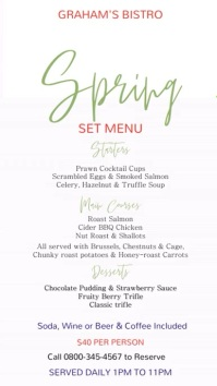 Spring Menu Template Digital Display (9:16)