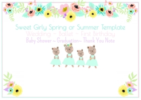 Spring or Summer Flower Template Postcard
