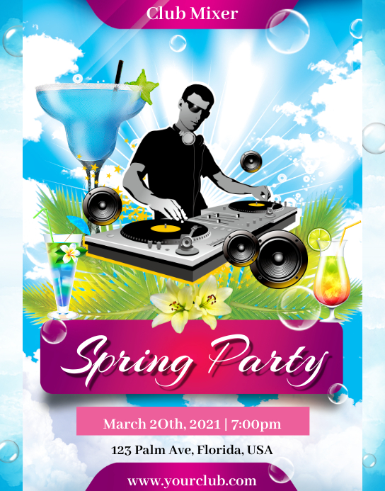 Spring Party Póster/Tablero template