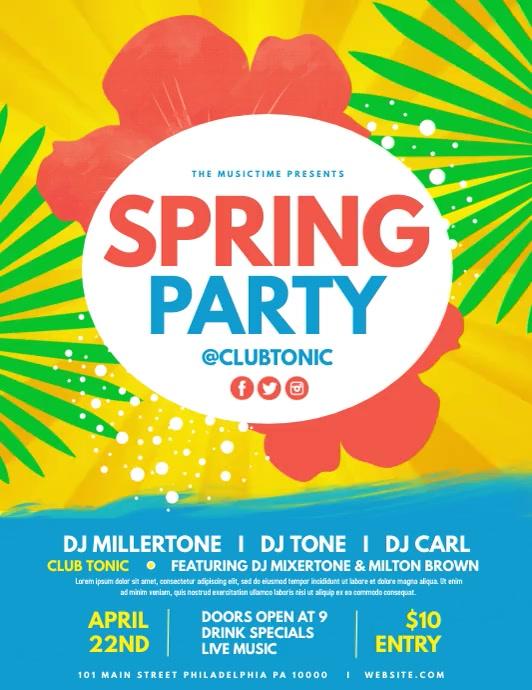 Spring Party 传单(美国信函) template