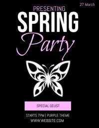 SPRING PARTY EVENT FLYER AD TEMPLATE Volante (Carta US)