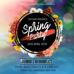 Spring Party Instagram Video 方形(1:1) template