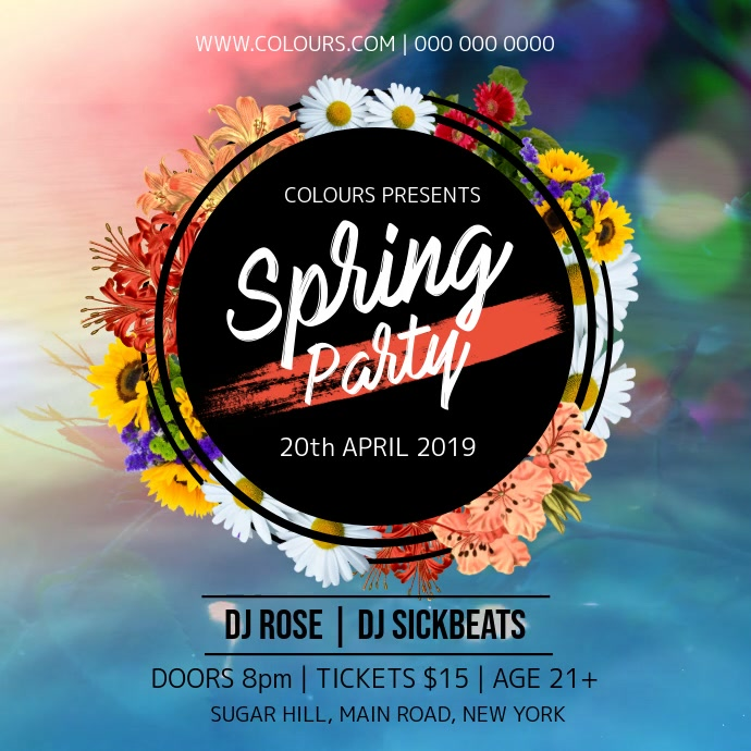 Spring Party Instagram Video Quadrado (1:1) template