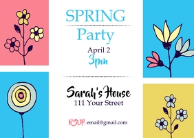 Spring Party Invitation Kartu Pos template