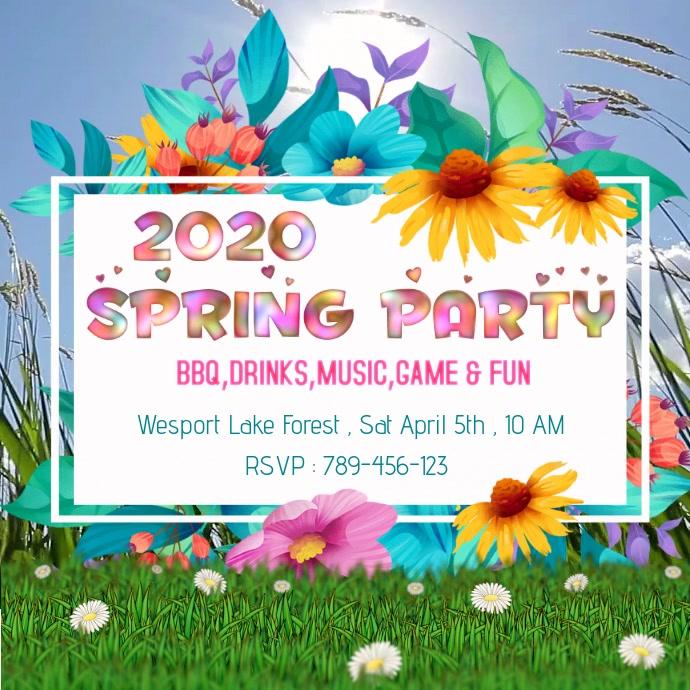Spring Party Invitation Instagram-opslag template