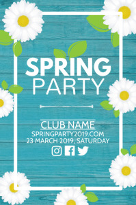 Spring party poster, Event poster, Party poster template