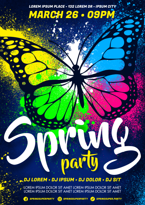 SPRING PARTY POSTER A4 template