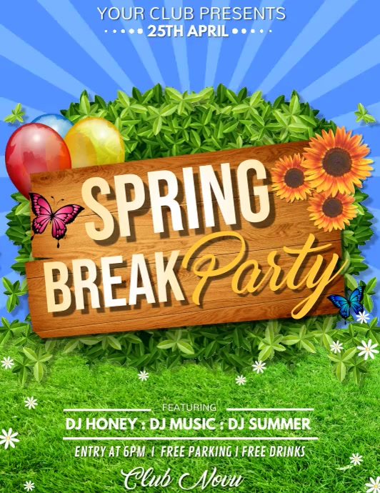 Spring Party Video, Spring Video, Spring Break Video Рекламная листовка (US Letter) template