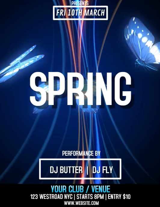 SPRING PARTY VIDEO FLYER TEMPLATE