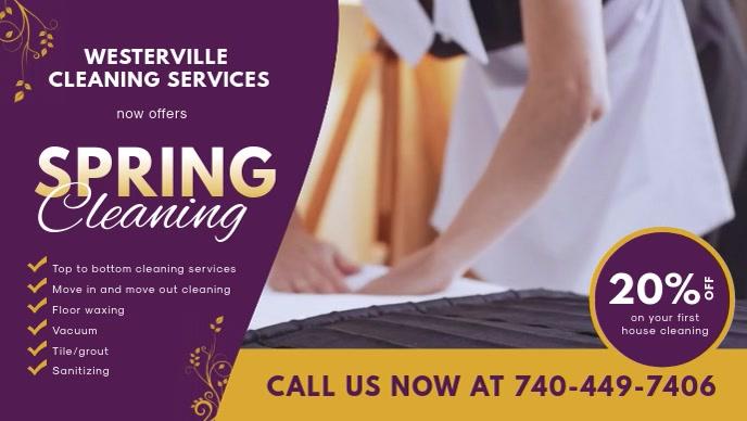 Spring Professional Cleaner Service Banner Facebook-omslagvideo (16: 9) template