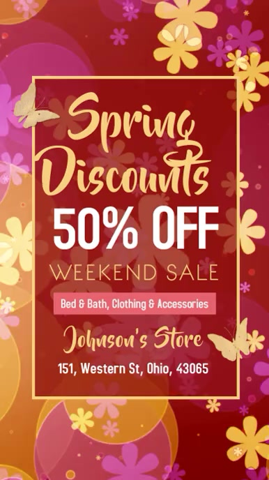 Spring Retail Sale Poster Template Digital na Display (9:16)