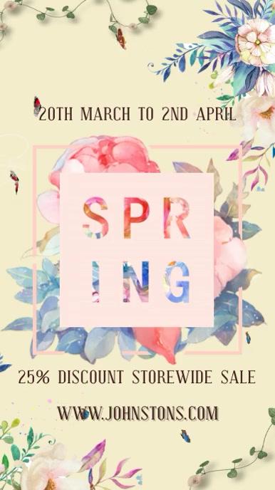 Spring Retail Sale Video Template Tampilan Digital (9:16)