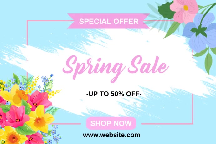 Spring Sale Banners Spanduk 4' × 6' template