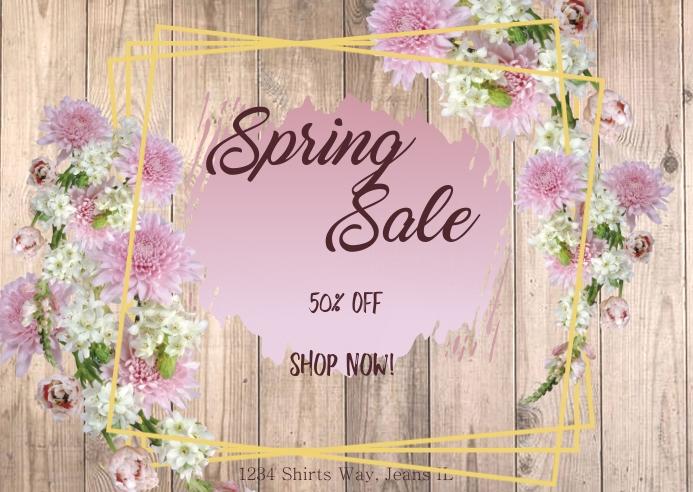 Spring Sale- Dark wood Postal template