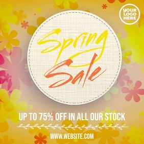 Spring Sale flower animation square video ad โพสต์บน Instagram template