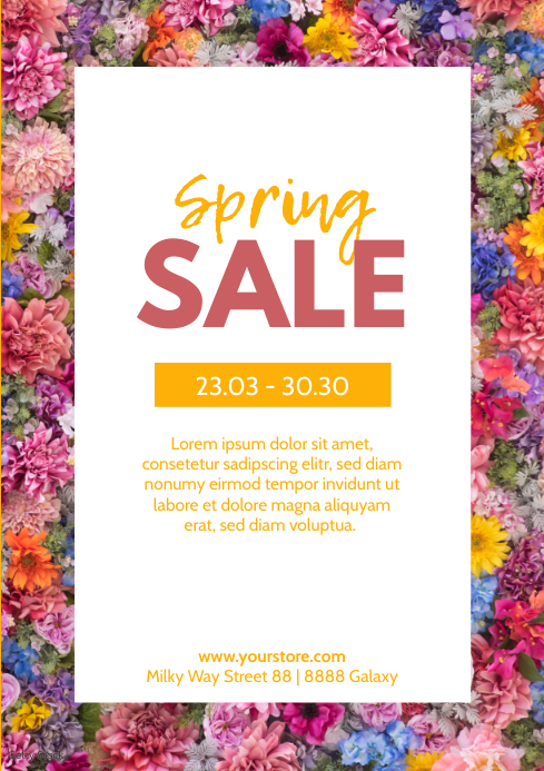 Spring Sale Flowers Poster Flyer Price Off Ad A4 template