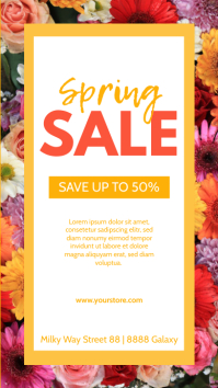 Spring Sale Flowers Poster story Price Off Ad template