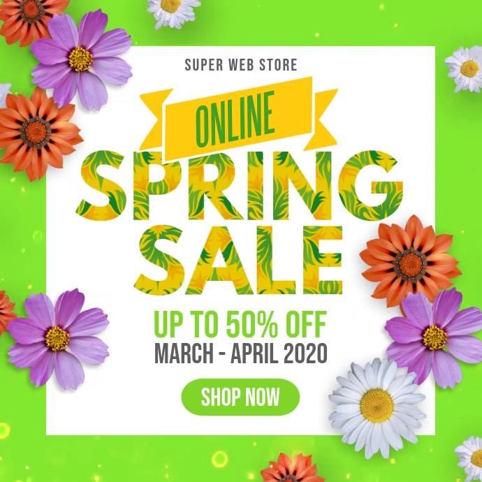Spring Sale Instagram Facebook Square Video Instagram-opslag template