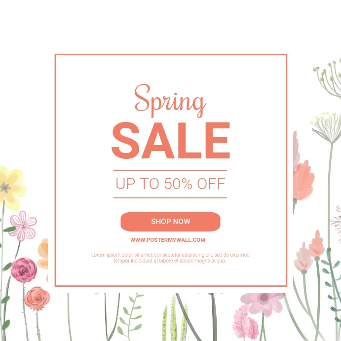 Spring sale instagram post template