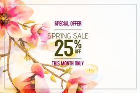 spring sale landscape poster template in PINK
