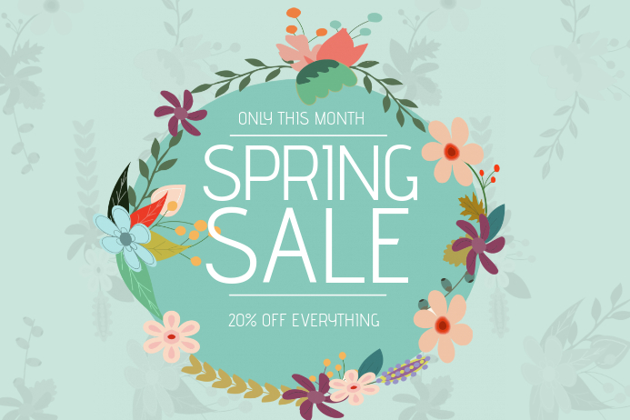 spring sale flyer template landscape