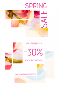 spring sale or spa treatments sale poster template