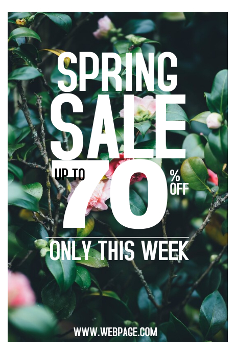 spring sale portrait poster template in purple