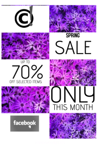 spring sale portrait poster template in purple