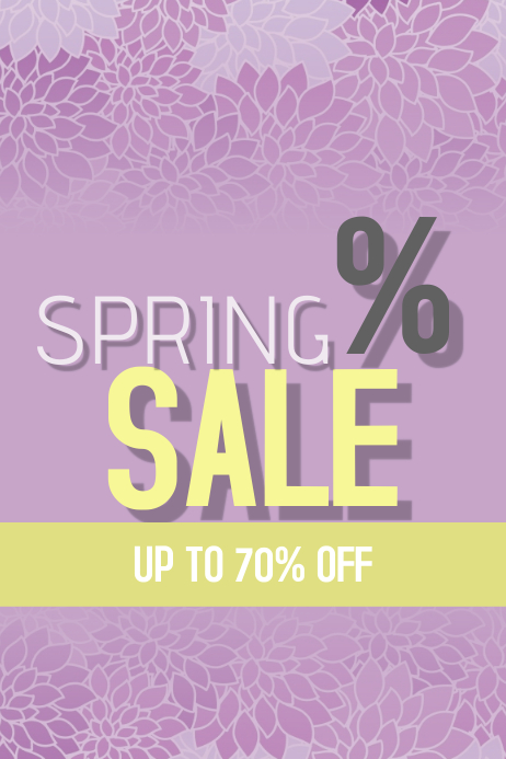 spring sale portrait poster template in yellow and purple