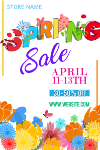 Spring Sale Poster Póster template