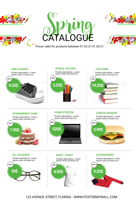 Spring Sale Product catalogue Template Poster
