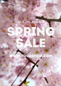 Spring Sale Store Online Shop Flowers Square A4 template