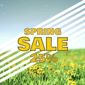 Spring Sale Video ad Square Flowers Butterfly Offer template