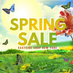 Spring Sale Video Flowers Butterfly Lawn Shopping Sun Fly Сообщение Instagram template